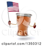Clipart Of A 3d Beer Mug Character Holding An American Flag And Thumb Up Royalty Free Illustration by Julos