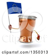 Clipart Of A 3d Beer Mug Character Holding A European Flag Royalty Free Illustration by Julos