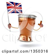 Clipart Of A 3d Beer Mug Character Holding Up A Finger And A British Union Jack Flag Royalty Free Illustration by Julos
