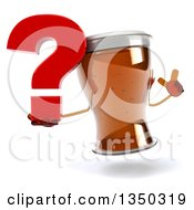 Clipart Of A 3d Beer Mug Character Holding Up A Finger And A Question Mark Royalty Free Illustration by Julos