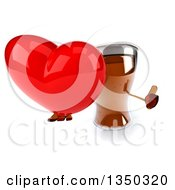 Clipart Of A 3d Beer Mug Character Holding Up A Thumb And A Red Love Heart Royalty Free Illustration by Julos