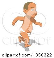 Clipart Of A Cartoon White Baby Boy Running To The Right Royalty Free Illustration