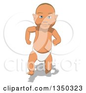 Clipart Of A Cartoon White Baby Boy Running Royalty Free Illustration