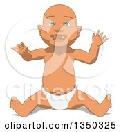 Clipart Of A Cartoon White Baby Boy Sitting Royalty Free Illustration