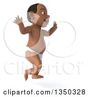 Clipart Of A 3d Black Baby Boy Facing Right And Jumping Royalty Free Illustration