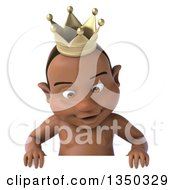 Clipart Of A 3d Black Baby Boy Wearing A Crown And Looking Down Over A Sign Royalty Free Illustration