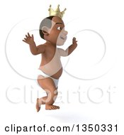 Clipart Of A 3d Black Baby Boy Wearing A Crown Running To The Right Royalty Free Illustration
