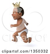Clipart Of A 3d Black Baby Boy Wearing A Crown Sprinting To The Left Royalty Free Illustration