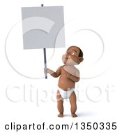 Clipart Of A 3d Black Baby Boy Holding And Pointing To A Blank Sign Royalty Free Illustration