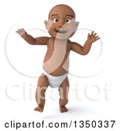 Clipart Of A 3d Black Baby Boy Walking Royalty Free Illustration