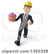 Clipart Of A 3d Young White Male Architect Holding A Cupcake And Speed Walking Royalty Free Illustration
