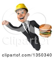 Clipart Of A 3d Young White Male Architect Holding A Double Cheeseburger And Flying Royalty Free Illustration by Julos