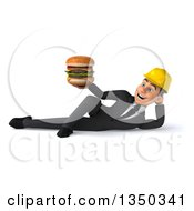 Clipart Of A 3d Young White Male Architect Holding A Double Cheeseburger And Resting On His Side Royalty Free Illustration by Julos