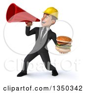 Clipart Of A 3d Young White Male Architect Holding A Double Cheeseburger And Using A Megaphone Royalty Free Illustration