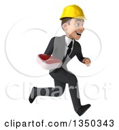 Clipart Of A 3d Young White Male Architect Holding A Beef Steak And Sprinting To The Right Royalty Free Illustration by Julos