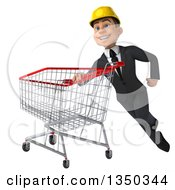 Clipart Of A 3d Young White Male Architect Flying With A Shopping Cart Royalty Free Illustration by Julos