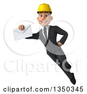 Clipart Of A 3d Young White Male Architect Holding An Envelope And Flying Royalty Free Illustration by Julos