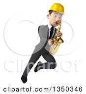 Clipart Of A 3d Young White Male Architect Playing A Saxophone And Flying Royalty Free Illustration