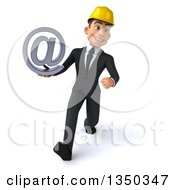 Clipart Of A 3d Young White Male Architect Holding An Email Arobase At Symbol And Speed Walking Royalty Free Illustration by Julos