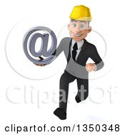 Clipart Of A 3d Young White Male Architect Holding An Email Arobase At Symbol And Sprinting Royalty Free Illustration by Julos
