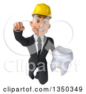 Clipart Of A 3d Young White Male Architect Holding A Tooth And Flying Royalty Free Illustration by Julos