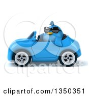 Clipart Of A 3d Chubby Blue Bird Wearing Sunglasses And Driving A Convertible Car To The Left Royalty Free Illustration by Julos