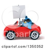 Clipart Of A 3d Chubby Blue Bird Wearing Sunglasses Holding A Blank Sign And Driving A Red Convertible Car To The Left Royalty Free Illustration by Julos