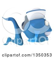 Clipart Of A 3d Happy Blue Sailor Fish Facing Right Royalty Free Illustration