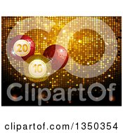 Clipart Of 3d 2016 New Year Disco Christmas Bauble Ornaments Over Gold Mosaic Royalty Free Vector Illustration by elaineitalia