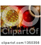 Clipart Of A 3d Gold Disco Ball Music Speaker And Silhouetted Concert Fan Hands Over Red Flares Royalty Free Vector Illustration