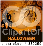 Clipart Of A Silhouetted Gravehard Noose Bare Tree Branches Flying Bats And Haunted House On A Hill Against A Full Moon Over Grungy Halloween Text Royalty Free Vector Illustration