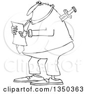 Outline Clipart Of A Cartoon Black And White Chubby Businessman Reading A Document With A Knife In His Back Royalty Free Lineart Vector Illustration