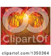Clipart Of A Golden Sunset Lit Path Through An Autumn Forest Royalty Free Vector Illustration by Pushkin