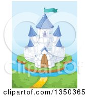 Clipart Of A Blue And White Island Castle Against The Ocean Royalty Free Vector Illustration