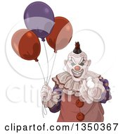 Clipart Of A Scary Halloween Clown Pointing At The Viewer And Holding Party Balloons Royalty Free Vector Illustration