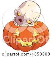 Clipart Of A Skull On A Carved Halloween Jackolantern Pumpkin Royalty Free Vector Illustration