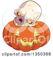 Poster, Art Print Of Skull On A Carved Halloween Jackolantern Pumpkin