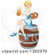 Happy Blond Oktoberfest Beer Maiden Holding A Mug And Soft Pretzel And Sitting On A Keg