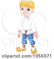 Clipart Of A Cute Blond Russian Boy In Traditional Dress Royalty Free Vector Illustration