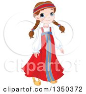 Clipart Of A Cute Brunette Russian Girl In Traditional Dress Royalty Free Vector Illustration