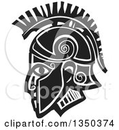 Clipart Of A Black And White Woodcut Hoplight Grecian Spartan Soldier In Profile Royalty Free Vector Illustration by xunantunich