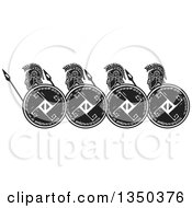 Clipart Of A Black And White Woodcut Group Of Hoplight Grecian Spartan Soldiers In Profile Royalty Free Vector Illustration