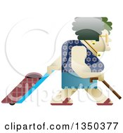 Clipart Of A Senior Woman Walking With A Cane And Rolling Shopping Basket Royalty Free Vector Illustration