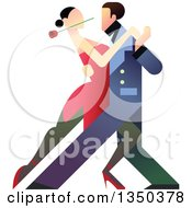Clipart Of A Romantic Couple Tango Dancing Royalty Free Vector Illustration