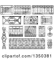 Clipart Of Black And White Wrought Iron Balcony Elements Royalty Free Vector Illustration by Frisko