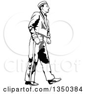 Clipart Of A Black And White Bellboy Or Bellhop Hotel Worker Man Walking Royalty Free Vector Illustration by dero