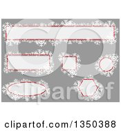 Clipart Of Off White Red And Snowflake Christmas Text Box Design Elements Over Gray Royalty Free Vector Illustration by dero