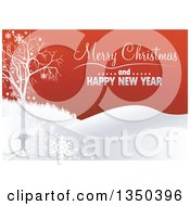 Clipart Of A Merry Christmas And Happy New Year Greeting With A Bare Tree Snowflakes And Hills On Red Royalty Free Vector Illustration