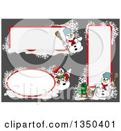 Clipart Of White And Red Snowflake And Snowmen Christmas Text Box Design Elements Over Gray Royalty Free Vector Illustration