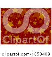Clipart Of A Seamless Background Pattern Of Stars And Dots Over Red Royalty Free Vector Illustration